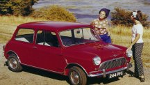 A 1960s advert for the BMC Mini featuring two trendily-dressed women.