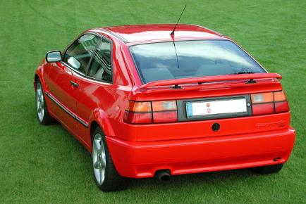 Rear view of a red Volkswagen Corrado.