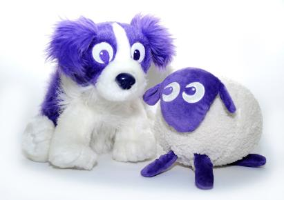 Ewan The Dream Sheep. White cuddly sheep and dog with purple face