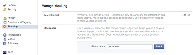 Facebook block settings 1