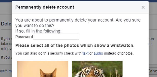 Screenshot - confirm Facebook delete