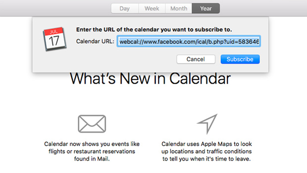 Facebook export calendar