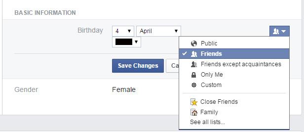 Facebook hide age