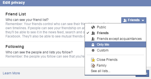 Facebook hide friend list