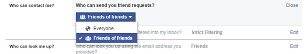 Facebook limit friend requests