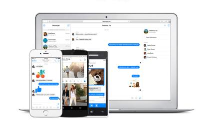 Facebook Messenger on laptop and tablet