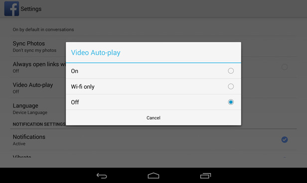 Facebook Android video autoplay 2