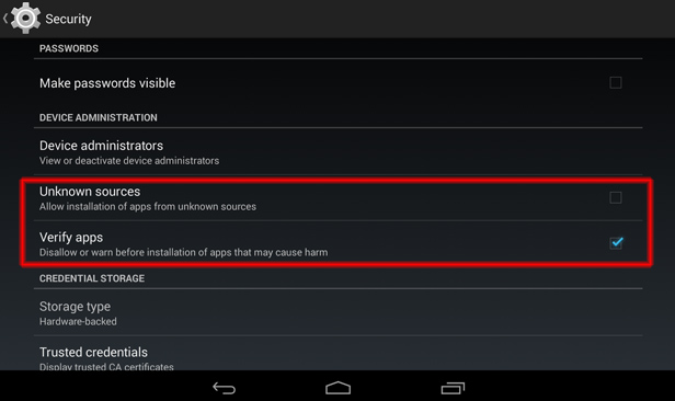 Fake apps - settings on Android tablet