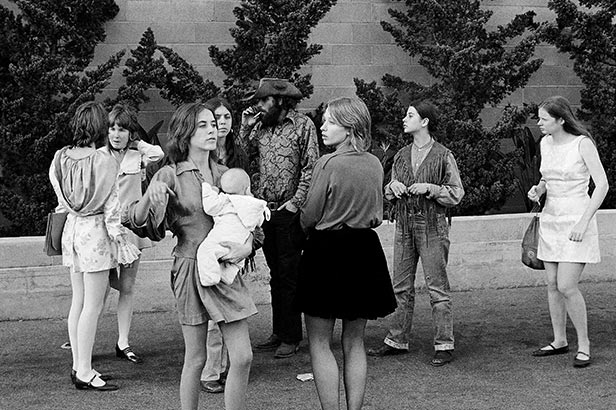 Members of the Charles Manson 'family' outside the Hall of Justice in LA