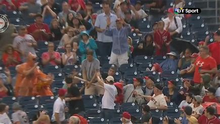Fan catching baseball bat
