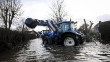 A tractor ventures out from a farm near the village of Muchelney, Somerset