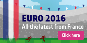 Euro 2016 promotion featuring the French flag and footballers in a stadium