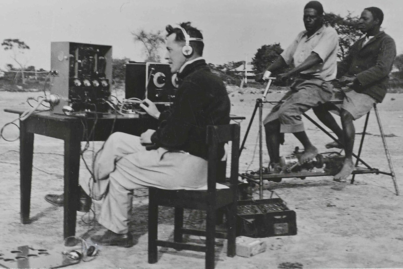 Field Telegraphist with native Battery Unit, Northern Rhodesia. 1936.