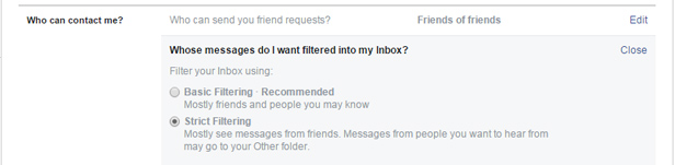 Filter who can send you messages