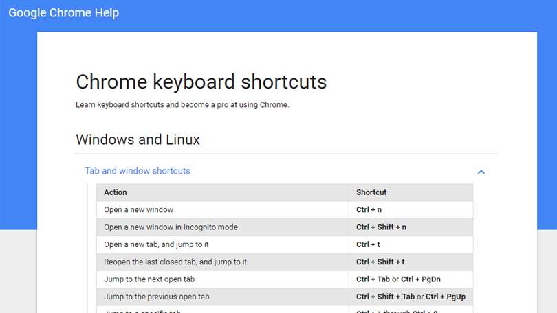 Finding more keyboard shortcuts