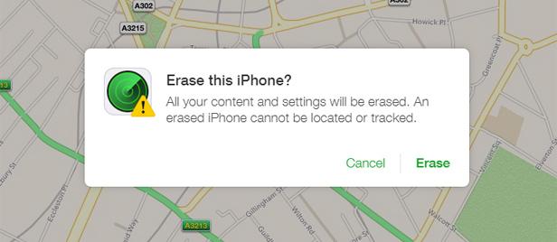 Screenshot Erase iPhone