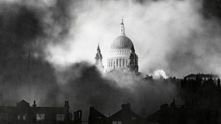Fire around St Paul's Cathedral London