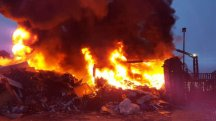 Fire at recycling plant involving 100 tonnes of waste forces home evacuations