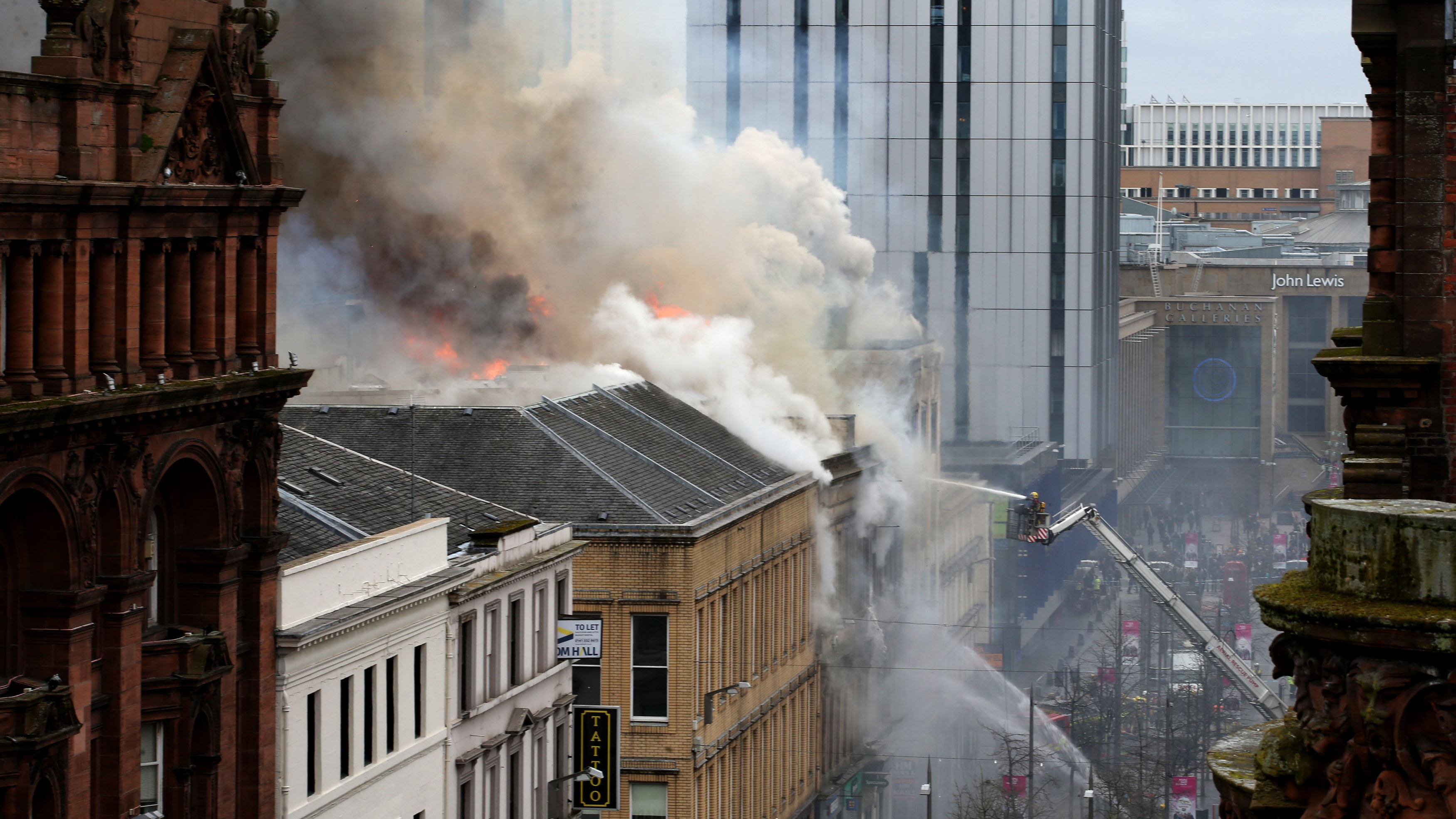 Streets to stay cordoned off after Sauchiehall Street fire in Glasgow