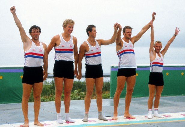 A 22-year-old Redgrave (second from right) celebrates his first Olympic gold with teammates Martin Cross, Richard Budgett, Andy Holmes and cox Adrian Ellison.