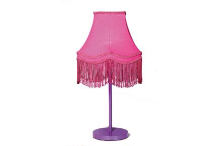 Flurorescent pink fringed art deco style lamp