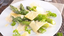 Asparagus topped with parmesan cheese