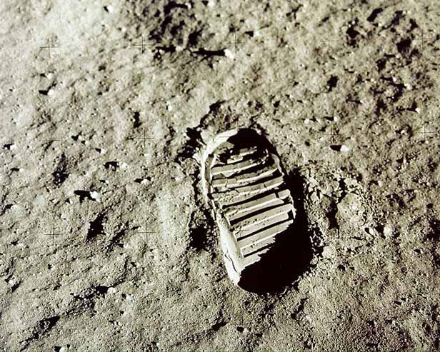 Buzz Aldrin's footprint.