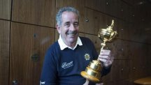 Former Europe Captain Sam Torrance with the Ryder Cup.