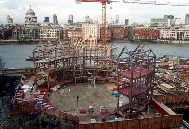 The frame of the Globe Theatre takes shape.