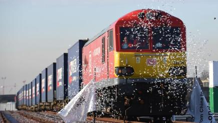 The first freight train service from China to the UK arrives at DB Cargo's rail freight terminal in Barking