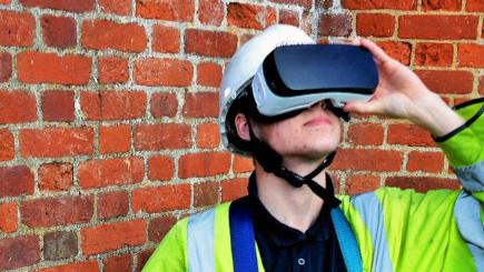 Openreach engineer with VR headset