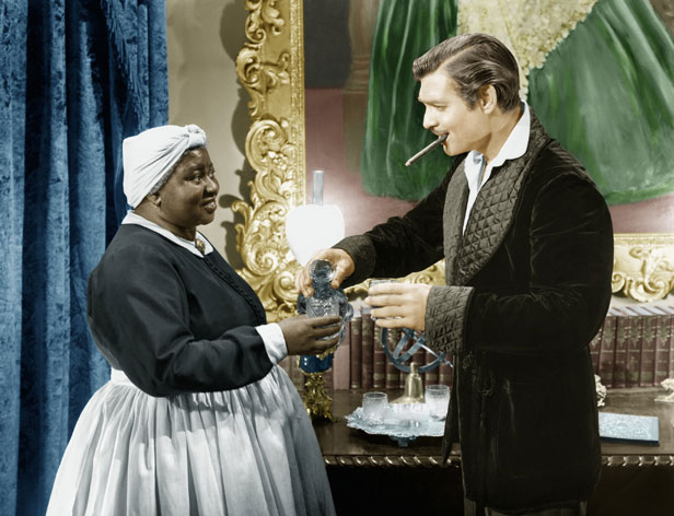 Hattie McDaniel as Mammy with Clark Gable as Rhett Butler in Gone with the Wind.