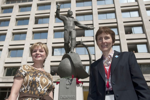 Sharman (right) with Elena Gagarina, daughter of Yuri Gagarin, the first man in space, at the unveiling of a statue of Gagarin in London in 2011.