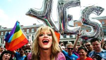 Drag queen and gay rights activist Rory O'Neill joins celebrations in Dublin after Ireland voted Yes in a referendum to allow same-sex marriage. (PA)