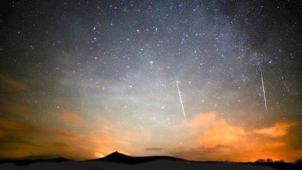 The Geminids meteor shower over Pitcaple in Aberdeenshire in December 2014