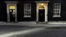 A beam of light points the way to 10 Downing Street