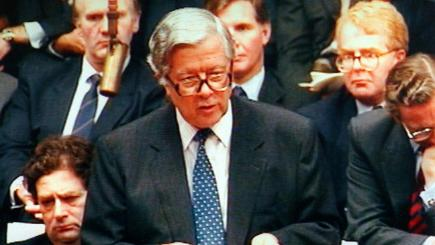 Geoffrey Howe delivering his resignation speech two weeks after his resignation on November 1.