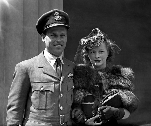 Guy Gibson with his wife on receiving the Victoria Cross in 1943.