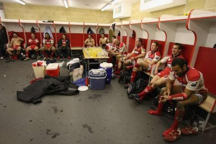 Gloucester rugby players in the dressing room