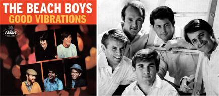 Good Vibrations single cover and the Beach Boys pictured in 1966- (clockwise from right) Carl Wilson, Dennis Wilson, Al Jardine, Mike Love and Brian Wilson.