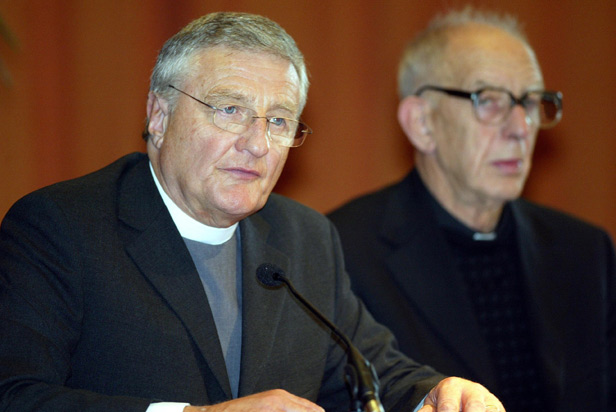 Protestant Minister Rev Harold Good (left) with Catholic Priest Father Alex Reid would act as independent witnesses to the decommissioning.