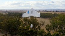 A Project Wing drone vehicle tests a delivery (Google/PA)