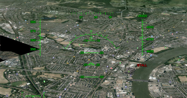 Google Earth fighter jet interface
