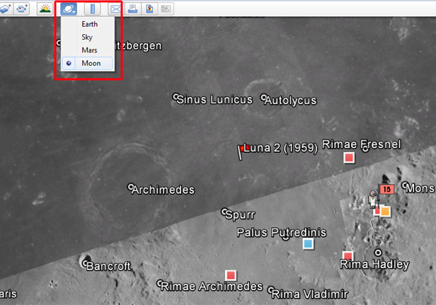 Google Earth Moon exploring