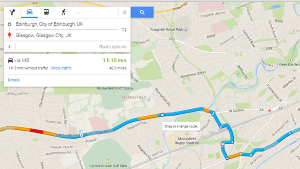 google maps drag to change route