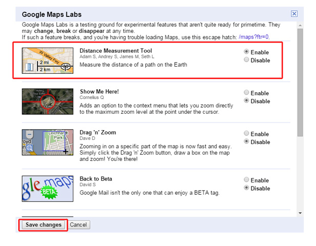 Google Maps Labs options
