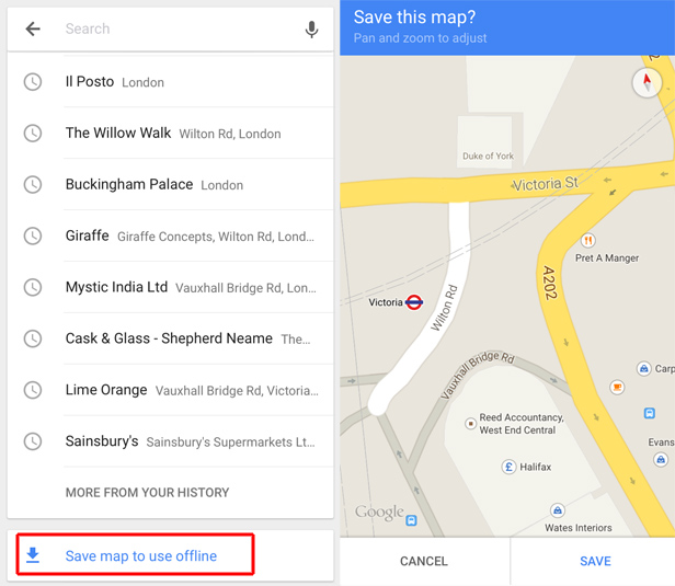 Google Maps iPhone saving for offline viewing