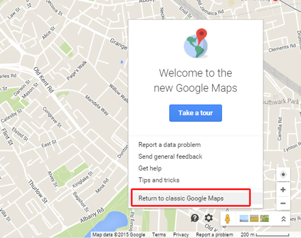 Google Maps return to Classic mode