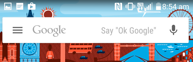Google Now interface with Google Voice search