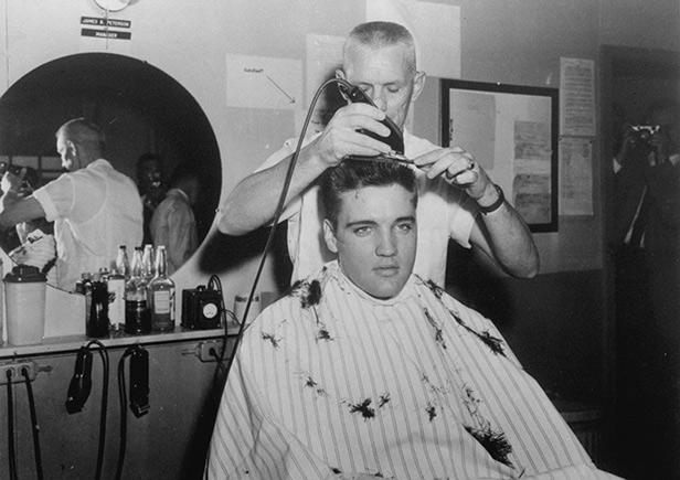 Elvis's famous quiff gets trimmed ahead of army duty